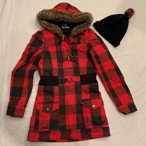 ROXY Buffalo plaid pea coat